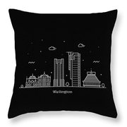 Wellington Skyline Travel Poster Throw Pillow