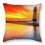 Welsh Lighthouse Sunset Throw Pillow by Adrian Evans