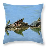 Western Painted Turtles Throw Pillow