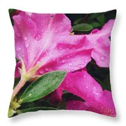 Wet Blooms Throw Pillow