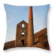 Wheal Coates Mine Chapel Porth Cornwall Throw Pillow