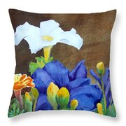 White And Purple Petunia And Marigolds Throw Pillow