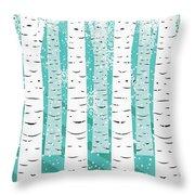 White Birch And Snow Throw Pillow