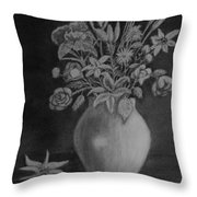 White Bouquet Throw Pillow