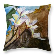 White Flower With Abstract Background Throw Pillow