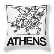 White Map Of Athens Throw Pillow