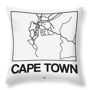White Map Of Cape Town Throw Pillow