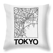 White Map Of Tokyo Throw Pillow