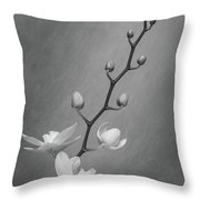 White Orchid Buds Throw Pillow