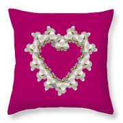 White Orchid Floral Heart Love And Romance Throw Pillow by Rose Santuci-Sofranko