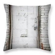 White Steel Factory Door Chinatown Washington Dc Throw Pillow by Edward Fielding