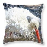 White Stork Fishing Throw Pillow