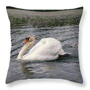 White Swan On Lake Throw Pillow