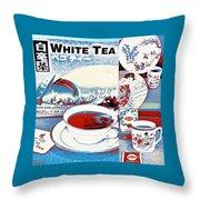 White Tea In Blue And White Throw Pillow