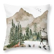 Wild Alaska Travel Poster Throw Pillow by Celestial Images