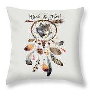 Wild And Free Wolf Spirit Dreamcatcher Throw Pillow