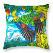 Wild Parrot Throw Pillow