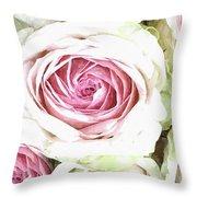 Wild Pink Roses Throw Pillow