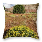 Wildflowers Bloom Beneath Red Point Throw Pillow by Ray Mathis