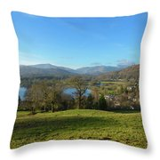 Windermere With Loughrigg Fell And The Langdales From Ambleside Throw Pillow