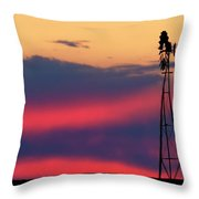Windmill At Sunset 07 Throw Pillow by Rob Graham