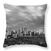 Windy Evening Calgary Downtown Bw Throw Pillow
