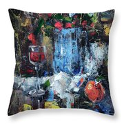 Wine And Fruits Throw Pillow
