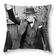 Winston Churchill Showing The V Sign Throw Pillow
