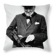 Winston Churchill With Tommy Gun Throw Pillow