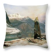 Winter At The Sognefjord - Digital Remastered Edition Throw Pillow