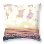 Winter Background With Snow And Fairy Lights. Throw Pillow