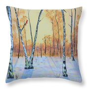 Winter Birches-cardinal Left Throw Pillow