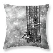 Winter Blessing Chickadee Throw Pillow
