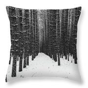 Winter Forest In Black And White Throw Pillow
