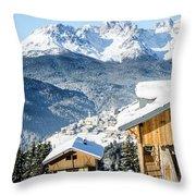 Winter Landscape On The Italian Dolomites Throw Pillow