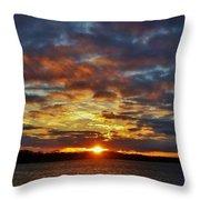 Winter Sunset Over Grand Island Throw Pillow