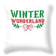 Winter Wonderland Christmas Secret Santa Snowing On Christmas Throw Pillow