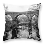 Wissahickon Creek - Reading Viaduct In Black And White Throw Pillow