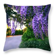 Wisteria At Sunset Throw Pillow