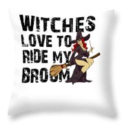 Witch Broom Funny Pun Naughty Halloween For Men Light Throw Pillow