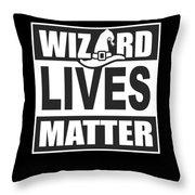 Wizard Lives Matter Retro Halloween Sorcerer Dark Throw Pillow