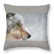 Wolf In The Snowstorm - Painting Throw Pillow