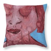 Woman And Blue Background Throw Pillow