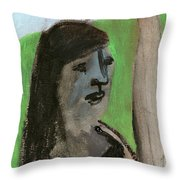 Woman By A Tree Throw Pillow