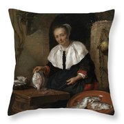 Woman Cleaning Fish Throw Pillow