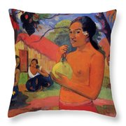 Woman Holding A Fruit 1893 Throw Pillow