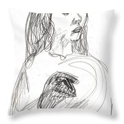 Woman Holding A Hat Throw Pillow
