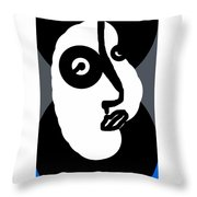 Woman In A Blue Coat Throw Pillow