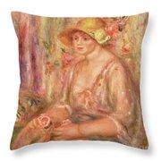 Woman In Muslin Dress, 1917 Throw Pillow