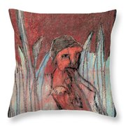 Woman In Reeds Throw Pillow